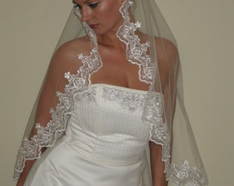 "Mantilla wedding veil circular 42"" long fingertip length."