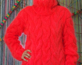 Hand Knit Mohair Sweater Cable Red Fuzzy Turtleneck Jumper Pullover Jersey MADE to ORDER - by Extravagantza