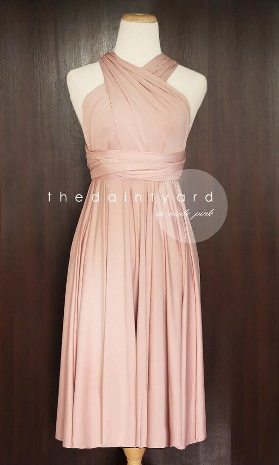 short straight hem nude pink infinity dress multiway dress