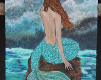 Giclee PRINT 9x12 Mermaid Brown Hair Waiting Lady Portrait Acrylic Seascape Figure Solitude Woman Ocean Fantasy Sea Art Abstract  Mystical