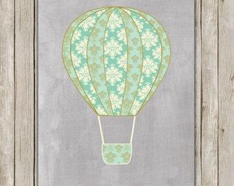 8x10 Hot Air Balloon Printable, Hot Air Balloon Nursery Print, Gray Nursery Printable, Nursery Decor, Poster, Instant Digital Download