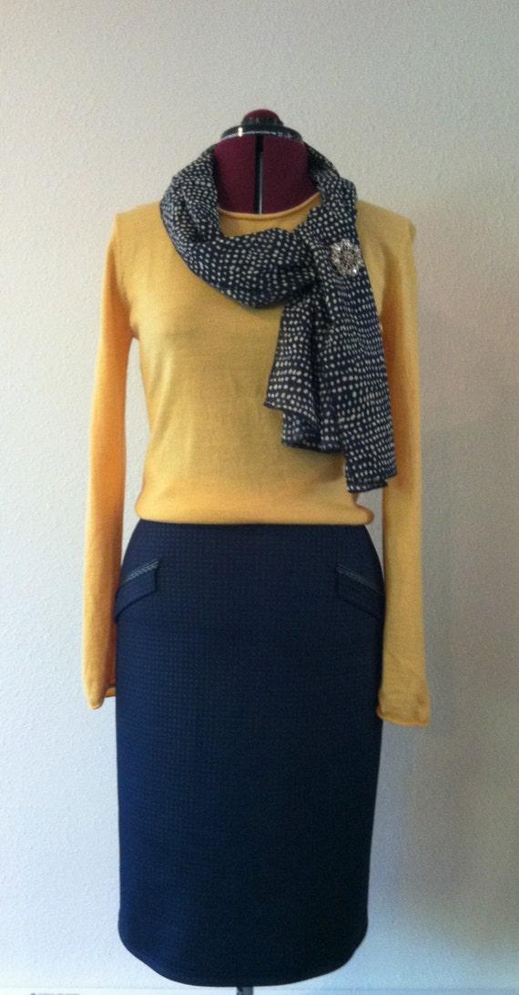 navy blue stretch pencil skirt high waist one seam 22 inch