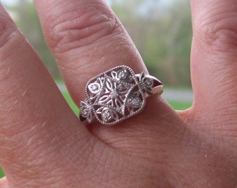 Diamond Sterling Promise Ring, Vintage Inspired, Made to Order
