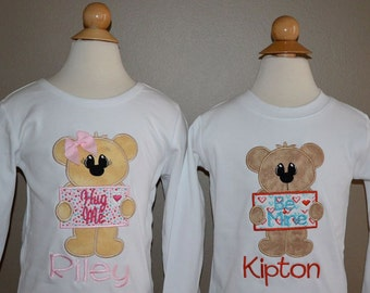 Personalized Valentine's Bear Mail Heart Applique Shirt or Onesie Girl or Boy