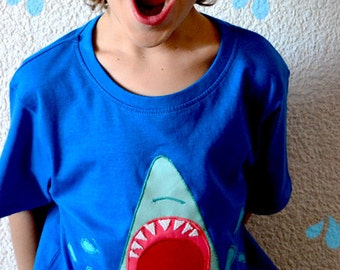 Shark tshirt. Sharks thooth. Blue shark.  Kids tshirt. Beach. Ocean shirt. Save animals shirt. Animals kids t shirt