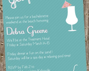 Bachelorette/Bridal Party Invite Spa/Beach theme