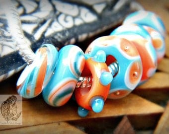 Ready to ship Large Hole, European Charm Size, Coral, Turquoise, and White Handmade Lampwork Glass Bead Set, set of 8