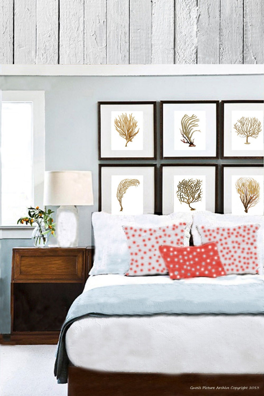 Coastal decor sea fan coral set of 6 wall art prints in brown for 8x10 bedroom ideas
