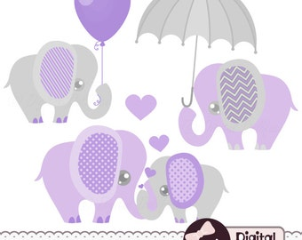 Purple and Grey, Baby Shower, Elephants Clipart, Digital Lavender Clip Art
