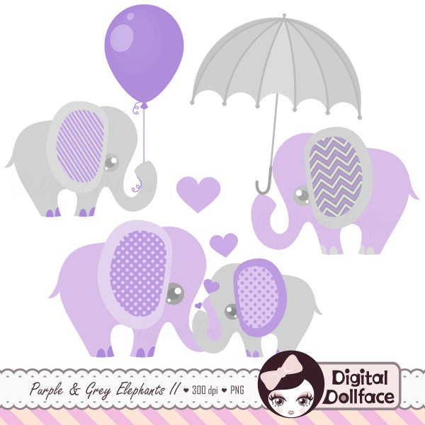 purple and grey baby shower elephants clipart digital