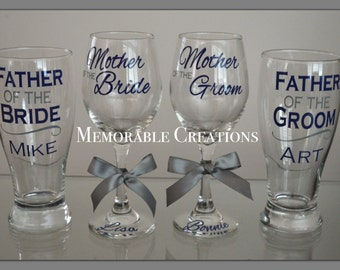 FAST SHIPPING-Personalized Wedding Glasses for the Parents-Mother of the Bride, Father of the Bride, Mother of the Groom,Father of the Groom