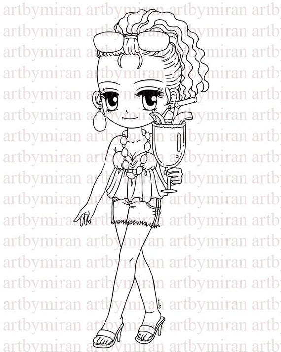 Digital Stamp-Cocktail Anne, Digi Stamp, Coloring page, Printable Line art for Card and Craft Supply
