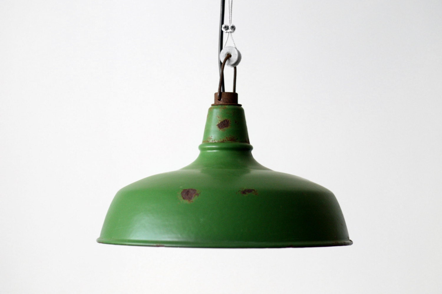 French Industrial Enamel Pendant Lamp Shade Olive Green