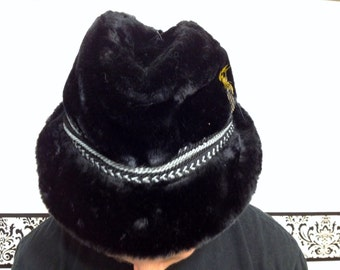1950's Black Faux Fur Fedora with Blue Braided Detail and Feather Detail, Vintage Size Small / Medium Bavarian Unisex