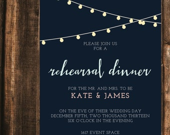 Light Garland Rehearsal Dinner Invitation // 5x7 Printed Sets // Modern Invitation, Rehearsal Dinner, Wedding Dinner Invite