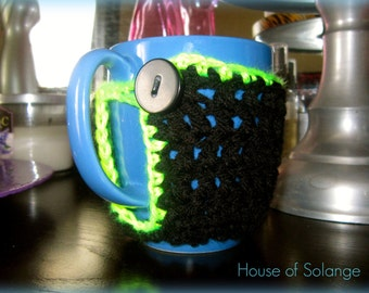 Black Neon Green Mug Cozy, Crocheted Tea Cup Cozie, Handmade Cup Cozy