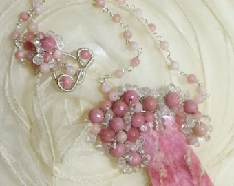Rhodonite, Pink Opal, Rose Quartz and Rhodochrosite Sterling Necklace - Wire Wrapped