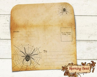 Printable spider envelope To Fit 4 x 6 inch Card - Bonus Foldable Halloween Printable Card, Instant Download