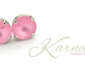 LIGHT ROSE MATTE 12mm Crystal Rivoli Stud Earrings Made With Swarovski Elements *Pick Your Finish *Karnas Design Studio *Free Shipping*