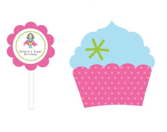 Super Girl Cupcake Toppers and Wrappers - Super Girl Birthday Party Decorations -  set of 24