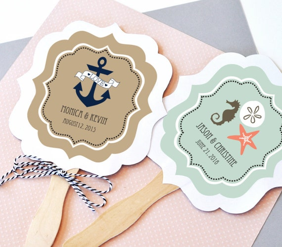 Nautical wedding favor fans paddle fan hand fan by modparty for Wedding paddle fans