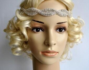 Bridal headband Rhinestone Headband, Wedding Headband, Crystal ribbon tie on Headband, Wedding Halo Bridal Headpiece