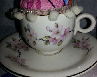 SALE!!  Pincushion in a sweet vintage cherry blossom cup and saucer-unique-retro-vintage-handmade