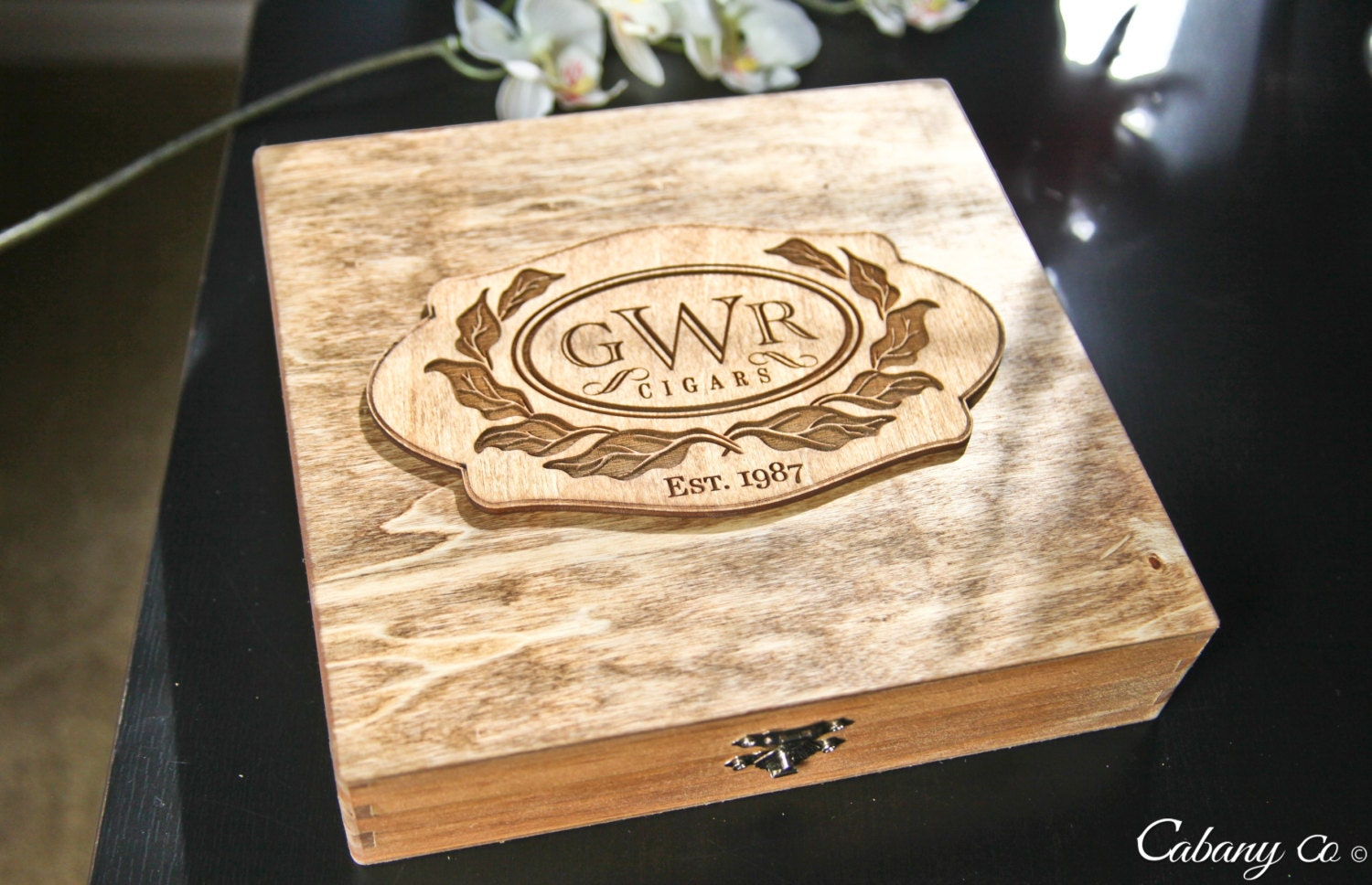 Personalized Wood Engraved Jewelry Box Cigar Box Gift By