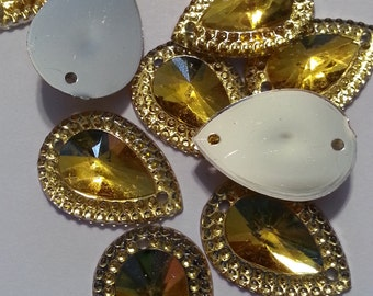 13x18mm Teardrop Embellishment -resin, flatback -  Honey gold & silver - 15 pieces