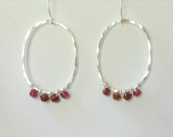 Red Garnet Silver Oval Earrings, Forged by LisaJStudioJeweler.