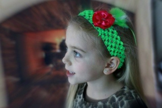 1920's inspired hot pink and lime green girl's headband