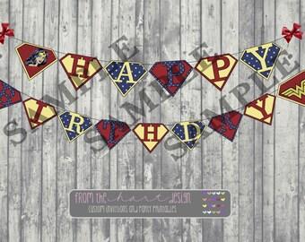 Superhero Wonder Woman, Happy Birthday Banner, Birthday Decorations Instant Download