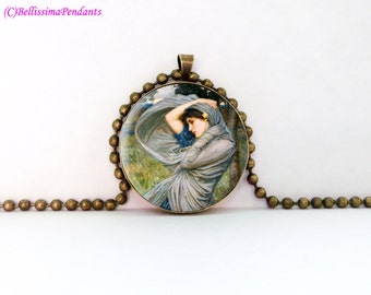 Boreas, John William Waterhouse, 1 in. 25.4 mm necklace or keychain