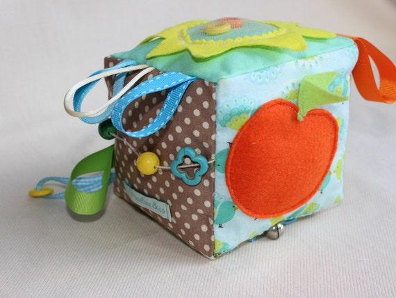 Baby Block Sensory Ribbon Toy Soft Fabric Block Gender