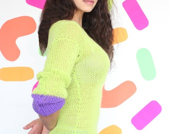 hand - knitted, green & purple sweater