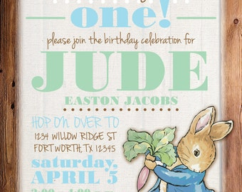 Peter Rabbit Birthday, Peter Rabbit Invitation, Peter Rabbit Birthday Invitation