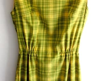 VINTAGE Green & Yellow Bonwit Teller Dress