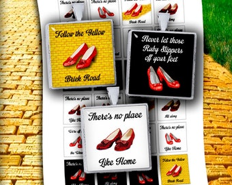 Ruby Slippers -  Square Images 1x1 inch and 1.5x1.5 inch Printable images Wizard of Oz Digital Collage Sheet - Instant Download