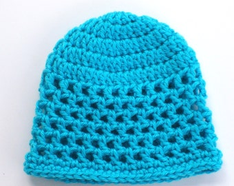 Baby Girl Hat, Baby Beanie, Turquoise Baby Hat, 3 - 6 Months Hat