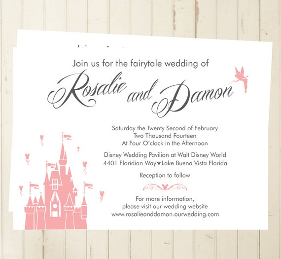 Fairytale Wedding Invitation Castle Party Magic Kingdom Invite