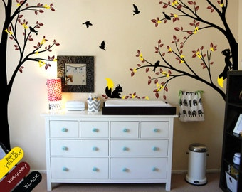 Modern Nursery Corner Trees Decal with Flying Birds Squirrels and Leaves Nursery Wall Decal - 036