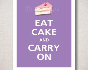 EAT CAKE & Carry On Art Print 8x10 (Featured color: Orchid--choose your own colors)