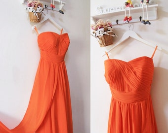 Orange Bridesmaid Dress,Sexy Simple Long Orange Dress,Long Convertible Bridesmaid Dress,Orange Evening Prom Dress,Sexy Bridesmaid Dress