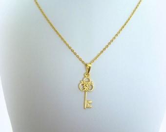 Key chain, key Necklace, gold filled necklace, gold fill key pendant, key charm