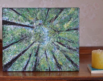 Commission an Original Painting of Redwood Trees, forest & sky art, acrylic painting, canvas wall art, free shipping