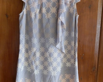 Vintage Grey and Peach Abstract Chequered and Star Pattern Silk Shift Dress 1980's UK Size 8/10