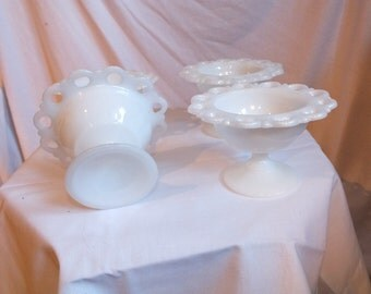 Anchor Hocking Milk Glass Compotes