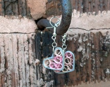 Paper Quilled Earrings, Sweetheart Filigree - silver and pink hearts, paper quilling earrings, paper quilled jewelry, paper quilling jewelry