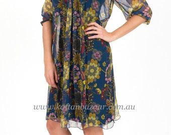 Silk Chiffon Dress - Clair Blue Spring Floral