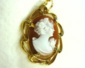 Vintage Hand Carved Shell Cameo Pendant Necklace Setting 12k Gold Filled Lady Profile Cameo Art Ladies Jewelry Holiday Birthday Gift